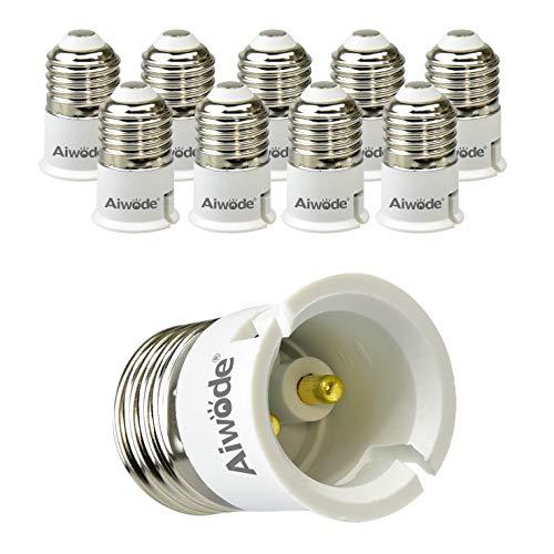 Aiwode E27 a B22 Socket Converter Socket Adapter,E27 Portalampada per Lampadine LED e incandescenza e CFL,Potenza Massima 200W,0~250V,10 Pezzi.