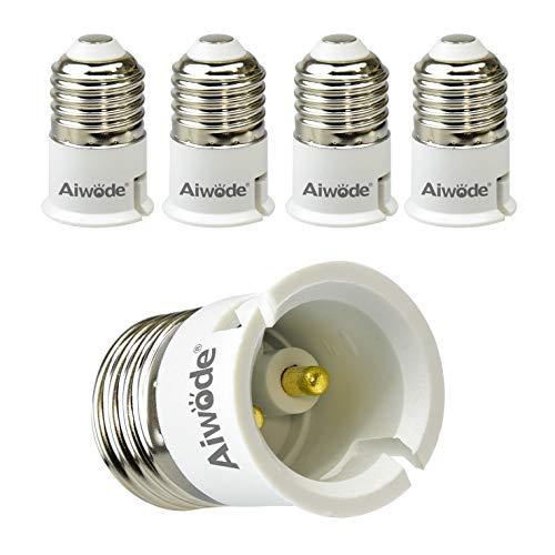Aiwode E27 a B22 Socket Converter Socket Adapter,E27 Portalampada per Lampadine LED e incandescenza e CFL,Potenza Massima 200W,0~250V,5 Pezzi.