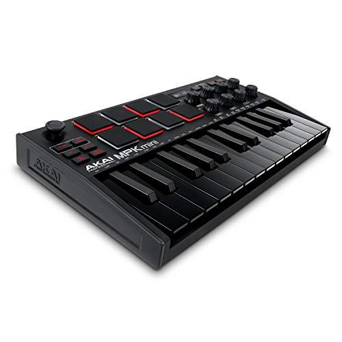 AKAI Professional MPK Mini MK3 Black – Tastiera MIDI Controller USB a 25 Note con 8 Drum Pad Retroilluminati, 8 Manopole e Software Incluso (Nero)