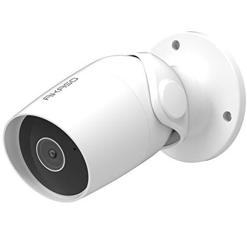 AKASO IP Telecamera Wi-Fi Esterno 1080P Lavora con Alexa, Google Home, IP65 Impermeabile, Audio Bidirezionale, Accesso Remoto, Rilevamento de Movimento, Archiviazione Scheda/Cloud