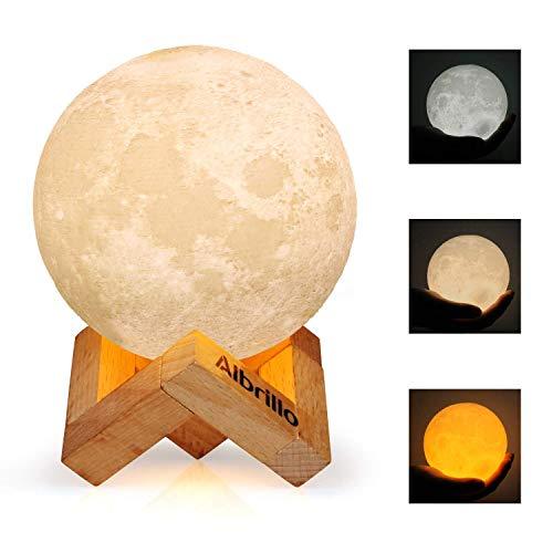 Albrillo 3D Luna Lampada Led - 10cm LED Luce Notturna con Toccare il Controllo, 3 colori e Regolabile Moon lampada, USB Rechargeable lunalight Per decorazione e regali