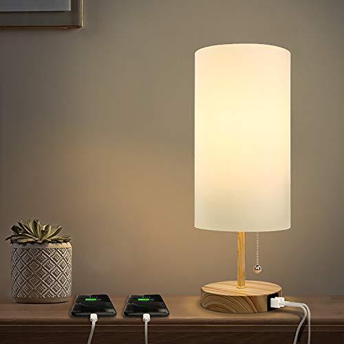 Albrillo - Lampada da tavolo E27, con 2 porte di ricarica USB, moderna lampada da comodino in tessuto, cilindrica con interruttore a tirante e attacco E27, per soggiorno, camera da letto e ufficio