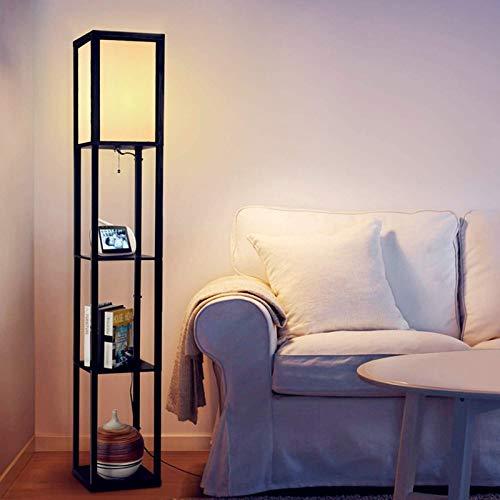 Albrillo Lampada da Terra - 1.6M Lampada a stelo in Legn, Presa E27(lampadina max. 60W), con 3 Scomparti e Morsetto per Cavo per Totale di 7.25 kg Caricabili, Piantana per Soggiorno, Camera da letto