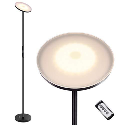 Albrillo Lampada da Terra LED - 20W Piantana Moderna Dimmerabile con 3 Temperatura di Colore[3000K/4000K /5000K], Telecomando e Controllo Touch,Angolo Regolabile, Ideale per Salotto, Camera da Letto