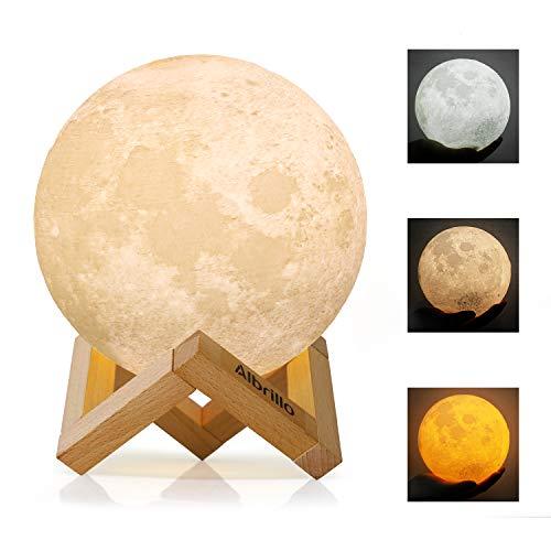 Albrillo Lampada Luna 3D,LED Luce Lunare Notturna Dimmerabile con 3 Colori e Toccare il Controllo,Ricarica USB,Luce per decoazione e regali, Diametro 15cm