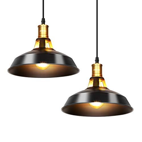 Albrillo Lampade a Sospensione Vintage - 2 Pcs Lampadari Industriali diametro 27cm per lampadine E27, Palalume in Ferro Classico e Cavo Regolabile, Ideale per Ristorante, Bar, Caffetteria, IP20