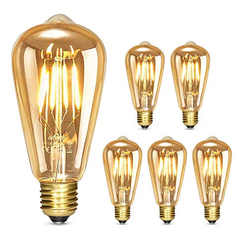 Albrillo LED Lampadina Vintage Edison Dimmerabile - 4W E27 Lampadine di Filamento, Luce Bianca Calda 2500K, Stile Edison Vintage Marrone, illuminazione Retrò Ideale per il Bar della Casa, 5Pcs