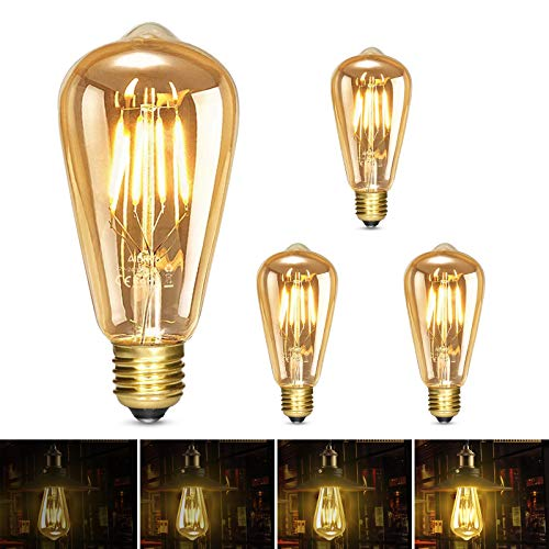 Albrillo LED Lampadina Vintage Edison Dimmerabile - 6W E27 Lampadine di Filamento, Luce Bianca Calda 2500K, Stile Edison Vintage Marrone, illuminazione Retrò Ideale per il Bar della Casa, 3Pcs