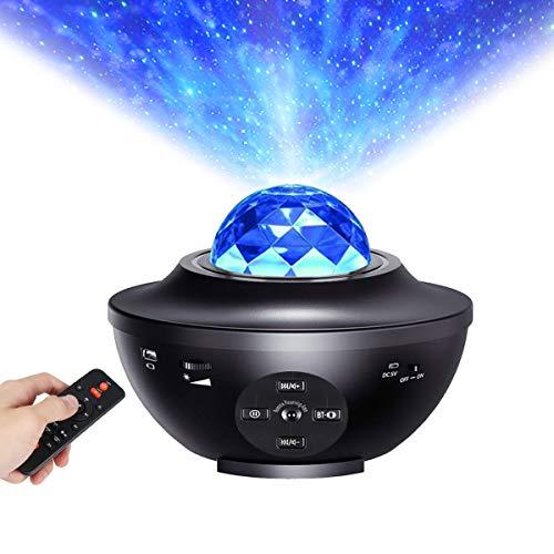 ALED LIGHT Luce Notturna con Telecomando, LED Proiettore a Cielo Stellato con Sensore per Altoparlanti Bluetooth Integrato può Riprodurre Musica, Lampada di Proiezione per Decorazione Bambini Natale