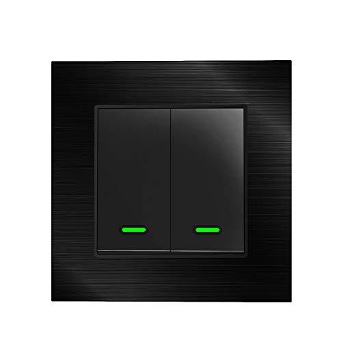 Alexa, interruttore della luce Smart con copertura in metallo, con telecomando e timer, interruttore Alexa Echo, compatibile con Alexa Echo, Google Home, nessun hub necessario, metallo (2 mare)