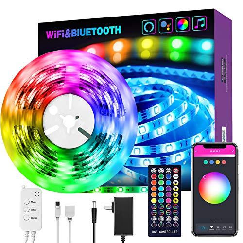 Alexa, striscia di luci LED, Smart WiFi, RGB (rosso/giallo/blu), con telecomando a 40 tasti e alimentatore di rete, striscia di luci LED per la cucina, casa, Natale, decorazione interna
