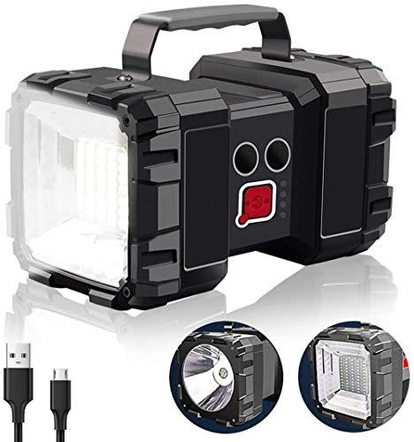 Alflash, torcia ricaricabile ad alta potenza, 10000 mAh, 3000 lm, super luminosa, portatile, 7 modalità di illuminazione, luce notturna ultra lunga, impermeabile, con uscita USB