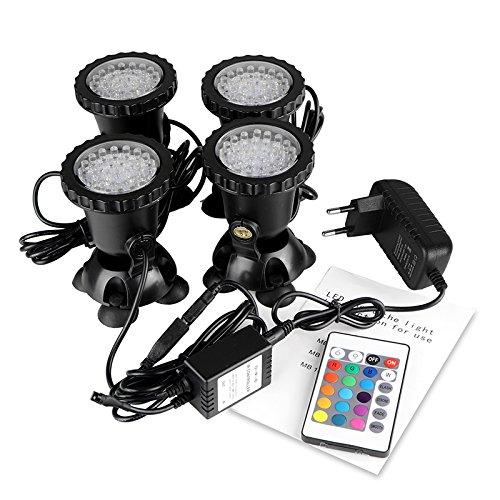 ALLOMN Spot Light 36 LED subacquei faretto luce IP68 impermeabile per acquario, laghetto e acquario, con spina UE (set di 4 luci)