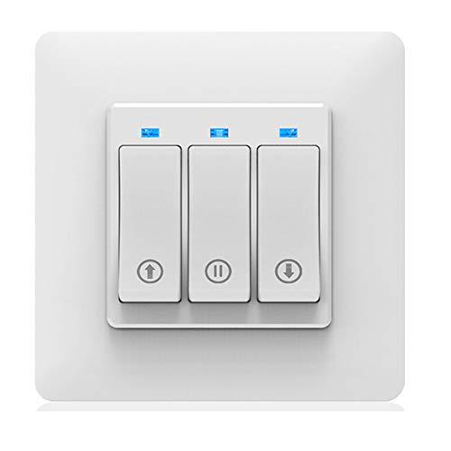 ALLOMN Wi-Fi Interruttore per Tende, Interruttore per Tapparelle Avvolgibili Elettrico Lavora con Alexa/Google Home, Telecomando Vocale, Funzione di Temporizzazione, Pulsante Meccanico, Smart Life APP