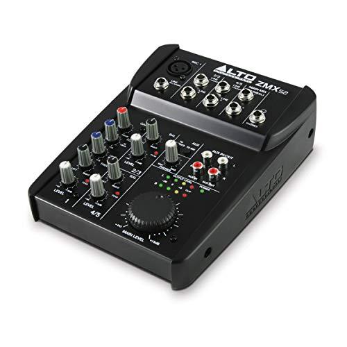 Alto Professional ZMX52 - Mixer Audio Portatile Professionale 5 Canali con Jack XLR, Alimentazione Phantom, EQ ed Aux in/out