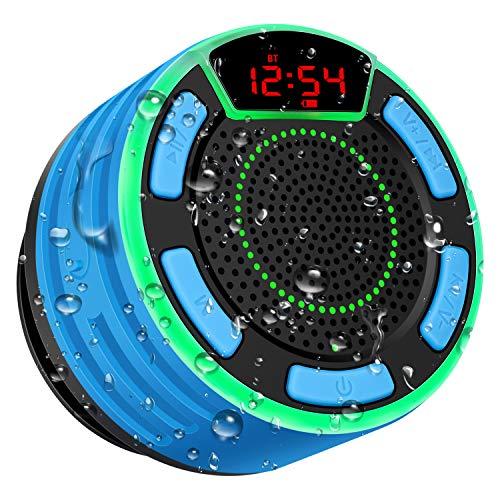 Altoparlante Bluetooth, moosen Cassa Portatile per doccia Senza fili Bluetooth impermeabile IPX7 con FM Radio, LED Display, TWS e spettacolo di luci, HD Deep Bass per Bagno Piscina Spiaggia Outdoor