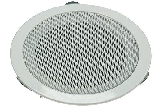 Altoparlanti da incasso a soffitto e a parete CTE-W, griglia di protezione in metallo, morsetti 8 Ohm, montaggio semplice (Ø 179 mm, 80 Watt, bianco)