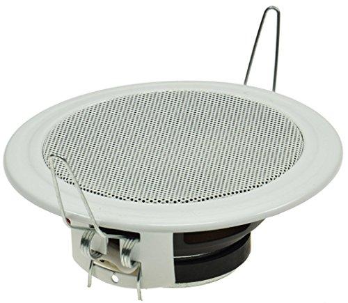 Altoparlanti da incasso a soffitto e parete, Ø 106 mm, 45 Watt, griglia di protezione in metallo, clip di fissaggio, 8 Ohm, montaggio semplice a molla, colore bianco