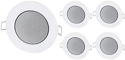 Altoparlanti mini da incasso in metallo, 5 pezzi, per montaggio a soffitto, design tipo alogeno, colore: bianco