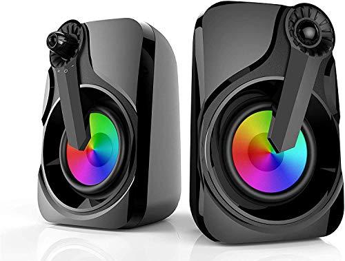 Altoparlanti per Computer, HEANTTV Altoparlanti Colorati per PC 2X3W USB Alimentato Portatile Multimediale da 3,5 mm con Luce RGB per Laptop, PC, Smartphone, TV, Plug and Play