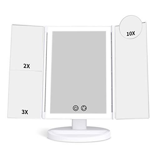 alvorog Specchio Trucco a Tre Riquadri con 72 Luci LED e Ingrandimento 1X / 2X / 3X / 10X ,180° Rotazione Libera Interruttore Tattile,3 Colori e Luminosità Regolabile per Il Trucco