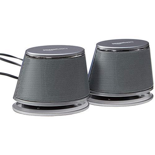 Amazon Basics - Altoparlanti per computer, alimentazione USB, con suono dinamico, Argento, confezione da 1