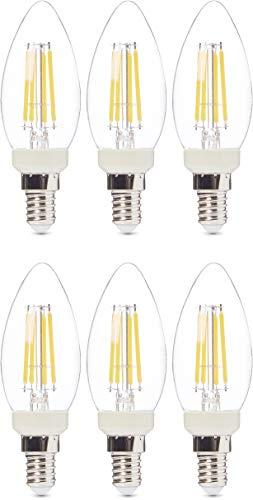 Amazon Basics, confezione di 6 lampadine a LED professionali, con attacco Edison E14, piccole, a oliva, equivalenti a 40 W, con filamento in vetro trasparente, regolabile