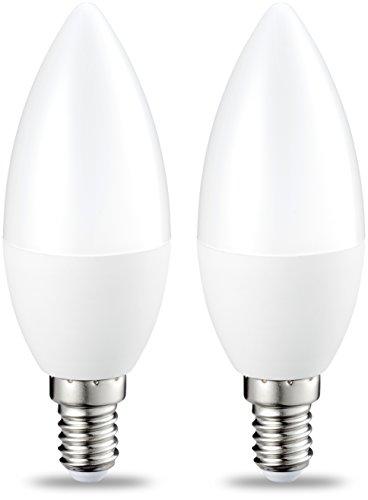 Amazon Basics Lampadina LED E14 a Candela, 6W (equivalenti a 40W), Luce Bianca Calda, Dimmerabile- Pacco da 2