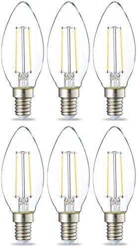 Amazon Basics Lampadina LED E14 a Filamento, 2W (equivalenti a 25W), Luce Bianca Calda- Pacco da 6