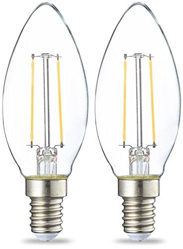 Amazon Basics Lampadina LED E14 a Filamento, 2W (equivalenti a 25W), Luce Bianca Calda- Pacco da 2