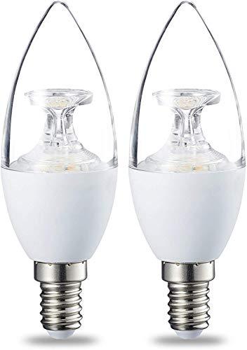 Amazon Basics Lampadina LED E14 a Oliva, 6W (equivalenti a 40W), Luce Bianca Calda, Dimmerabile- Pacco da 2
