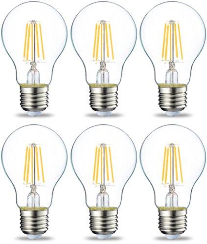Amazon Basics Lampadina LED E27 a Filamento, 4.3W (equivalenti a 40W), Luce Bianca Calda - Pacco da 6