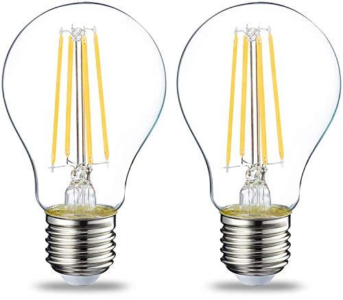 Amazon Basics Lampadina LED E27 a Filamento, 7W (equivalenti a 60W), Luce Bianca Calda - Pacco da 2