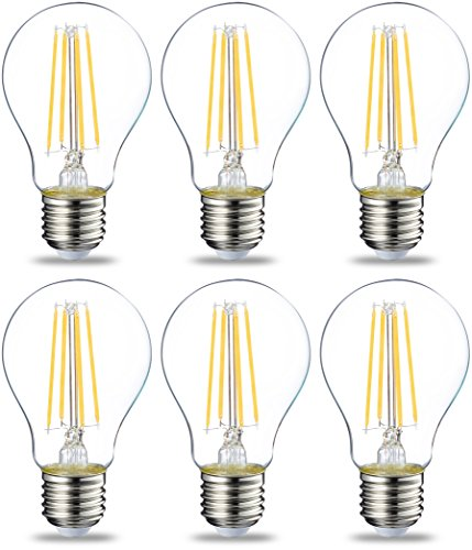 Amazon Basics Lampadina LED E27 a Filamento, 7W (equivalenti a 60W), Luce Bianca Calda - Pacco da 6