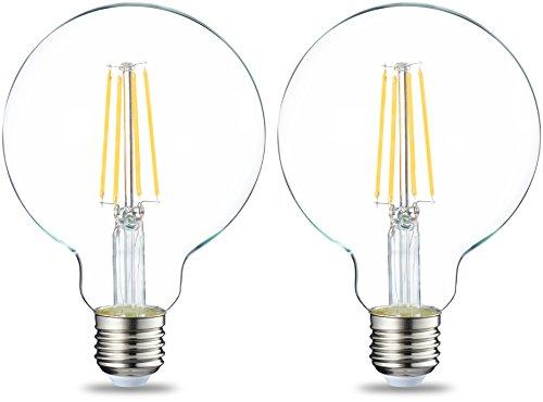 Amazon Basics Lampadina LED Globo E27 a filamento, 7W (equivalenti a 60W), Luce Bianca Calda, Pacco da 2