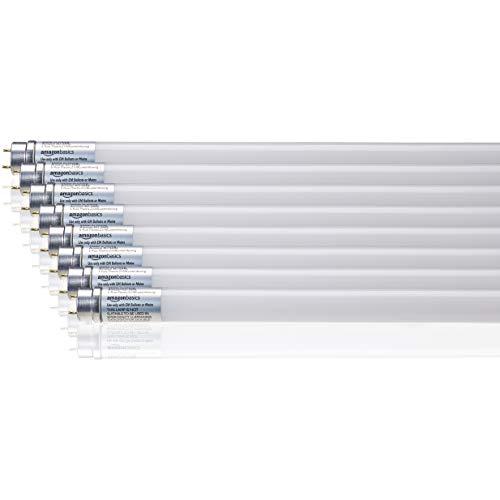 Amazon Basics, LED tubolare professionale, T8, 1200mm, 1600lumen, 14,5W (equivalente a 36W), luce Bianca naturale, 4000K, G13 - Confezione da 8