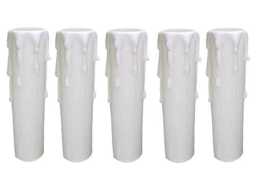 AMBROS® - Portalampada/candela di cristallo E14, 100 mm, in plastica, colore: bianco