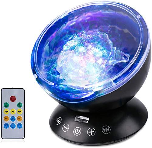 AMONIDA Proiettore Ocean Wave, Lampada per Proiettore a LED a Luce Notturna, 7 modalità di Colore Lettore Musicale con Telecomando per Baby Room, Camera da Letto, Soggiorno, Regali di Natale