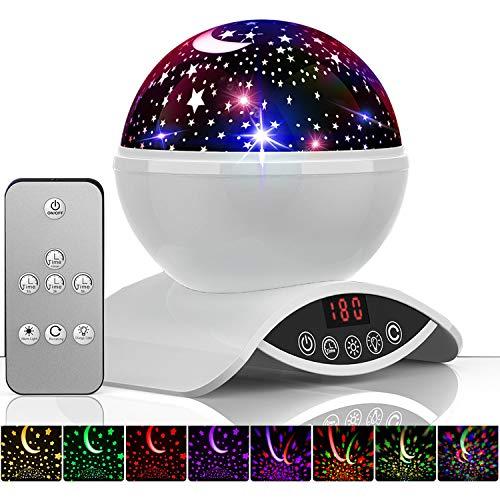 Amouhom Lampada proiettore stelle bambini, 8 Modalità Romantica Luce Notturna, 360° Rotazione Proiettore Lampada con lo Schermo Led e Telecomando, Regalo per Neonati, Bambini