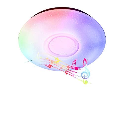 Ankishi Plafoniera a Led RGB, Plafoniera Rotonda con Altoparlante Bluetooth, Lampada da Soffitto Dimmerabile 24W 1680lm Cambia Colore con Telecomando, Camera da letto Cucina Camera dei bambini