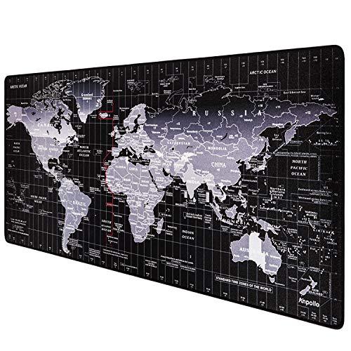 Anpollo Tappetino Mouse Gaming Grande Mouse Pad XXL 900x400mm con Base in Gomma Antiscivolo Nero - Modello World Map
