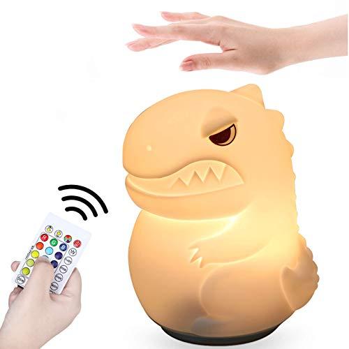 Anpro Luci Notturne per Bambini,Luce Notturna a Dinosauro a 16 Colori,con Funzioni di Temporizzazione e Touch Sensing,Facile da Trasportare