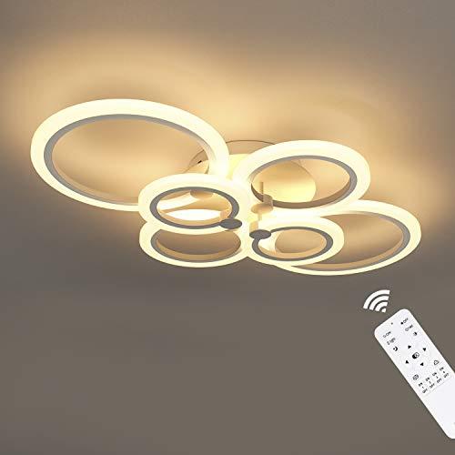 Anten Dimmerabile Plafoniera a LED, 40W 3000LM Lampada Lampadario, IP20 Plafoniera Moderna, con 6 Pezzi di Luce Ring, per Soggiorno, Camera da Letto, Sala da Pranzo