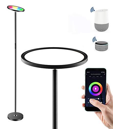 Anten Lampada a stelo LED da 25W, dimmerabile, RGB con varietà di colori, illuminazione smart compatibile con Alexa e Google APP, per soggiorno, camera da letto, ufficio, pub, hotel, colore nero