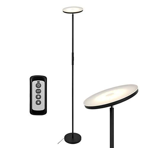 Anten Lampada da Terra per Soggiorno a LED da 20W, Piantana da Pavimento, 3 Temperatura di Colore, con Telecomando, Lampada da Terra Intelligente per Lettura, Ideale per Uffici o Studi