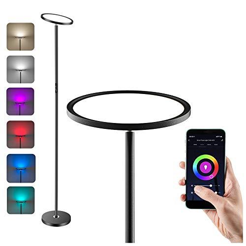 Anten Lampada da Terra RGB a LED da 25W, Lampada a Stelo con Piantana, Illuminazione da Pavimento, Compatibile con Alexa e Google Assistant, con Funzione Tramite Controllo Vocale