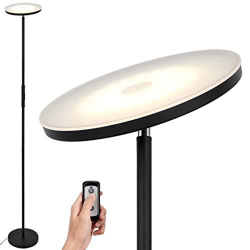 Anten Stjarna | 20W lampada da terra nera con telecomando | piantana a led dimmerabile con colore della luce e luminosità regolabili | perfetto come illuminazione d'ambiente per soggiorno/ufficio.