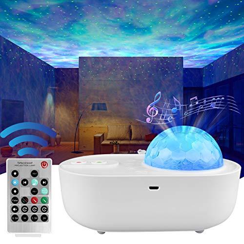 ANVAVA Proiettore stelle lampada proiettore per bambini a LED luce proiettore bebè con telecomando e Bluetooth musica 10 modalità proiettore bambini per feste Natale compleanno camera da letto