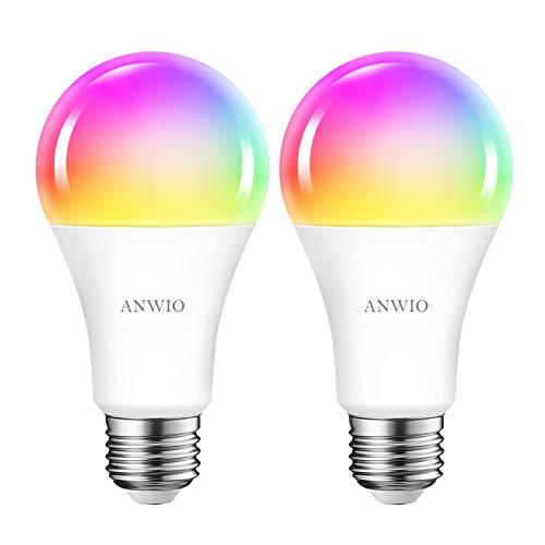 ANWIO Lampadina LED Smart Wifi Attacco E27,12W Equivalenti a 100W, 1521Lm,Compatibile con Alexa,Echo and Google Assistant,RGB Intelligente Dimmerabile,Controllo a Distanza da App,Pacco da 2 Pezzi