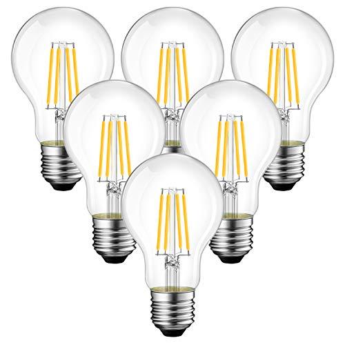 ANWIO Lampadine di filamenti a LED Attacco E27,1055LM,7.5W Equivalenti a 75W,Luce Bianca Calda 2700K,Forma A60 Stile Vintage Retrò,Non Dimmerabile - Pacco da 6 Pezzi